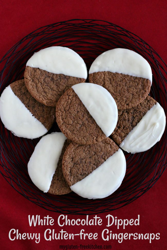 Plate of White Chocolate Dipped Chewy Gluten-free Gingersnaps