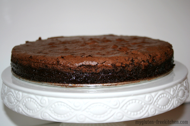 Flourless Chocolate Cake on Cake stand