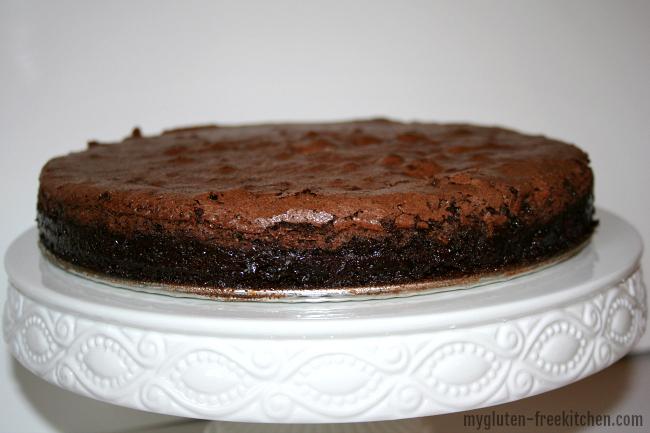 Flourless Chocolate Cake on Cake stand