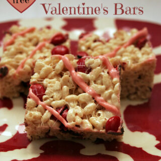 Gluten-free White Chocolate Valentine's Bars - These no-bake crispy rice bars are a fun and easy gluten-free treat!