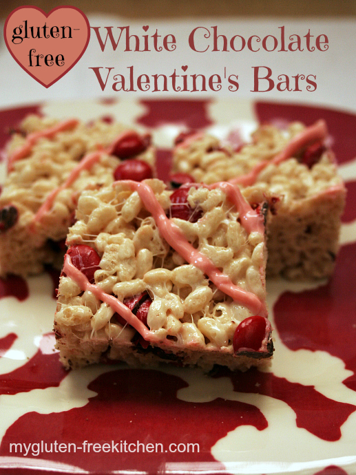 73e8250eb4552f Gluten-free White Chocolate Valentine s Bars - These no-bake crispy rice  bars are