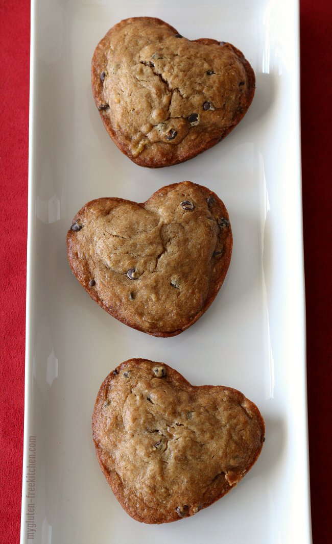 Heart-shaped gluten-free banana chocolate chip muffins  Fun gluten-free Valentine's treat!