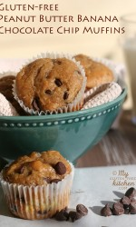 Peanut Butter Banana Chocolate Chip Muffins {Gluten-free}