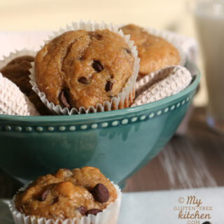Gluten-free Peanut Butter Banana Chocolate Chip Muffins