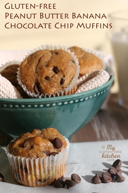 Peanut Butter Banana Chocolate Chip Muffins {Gluten-free}