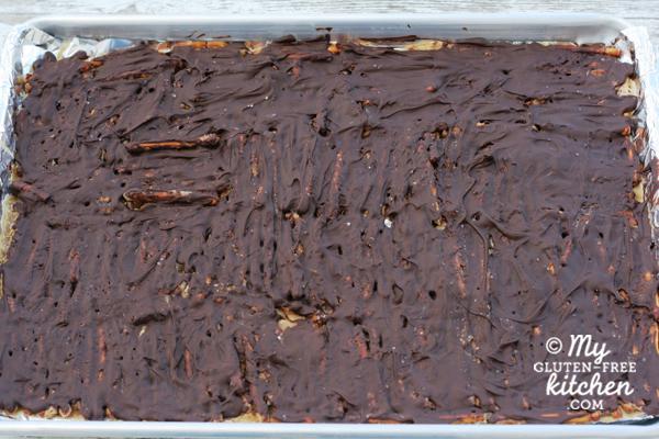 Chocolate Caramel Pretzel Bark {Gluten-free}