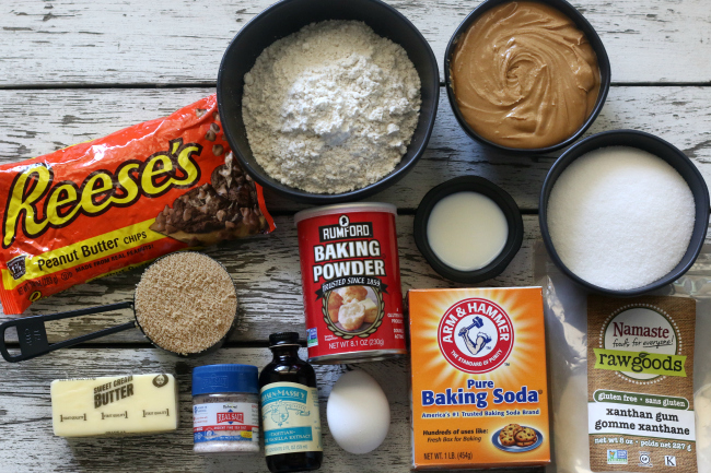 Ingredients for gluten-free peanut butter cookies