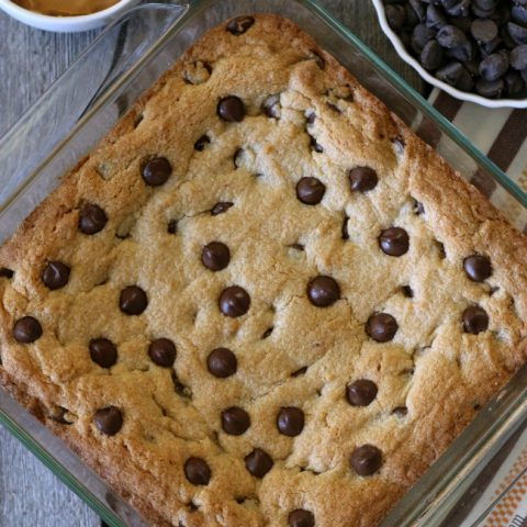 Gluten-free Peanut Butter Brownie with chocolate chips