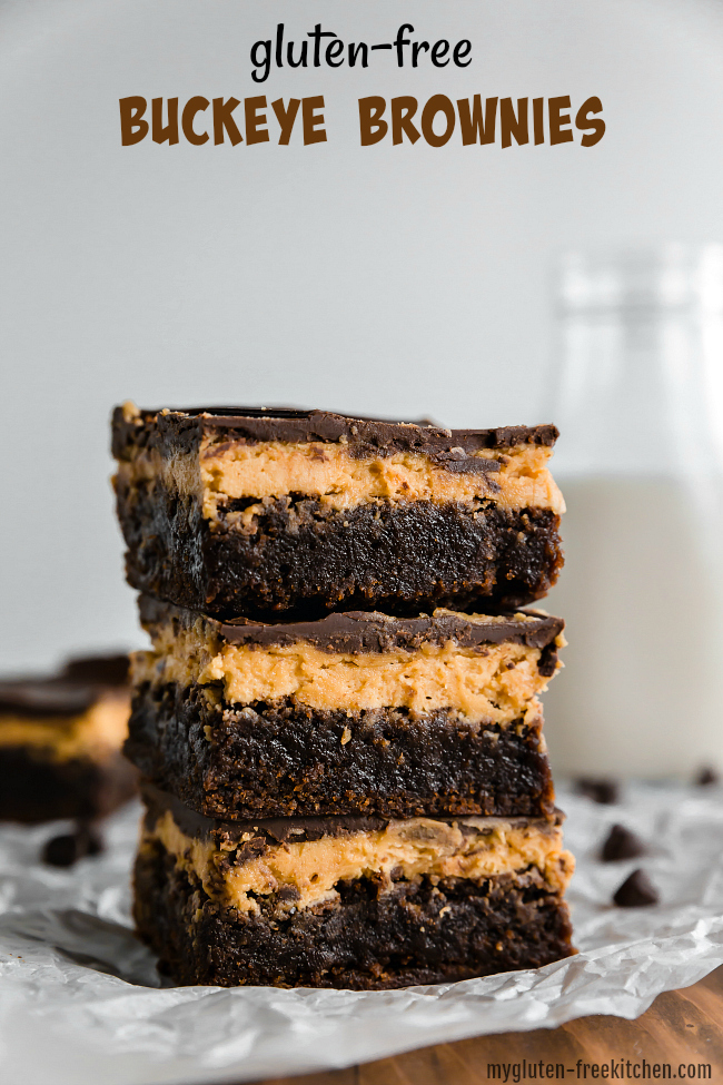 Stack of 3 Gluten-free Buckeye Brownies