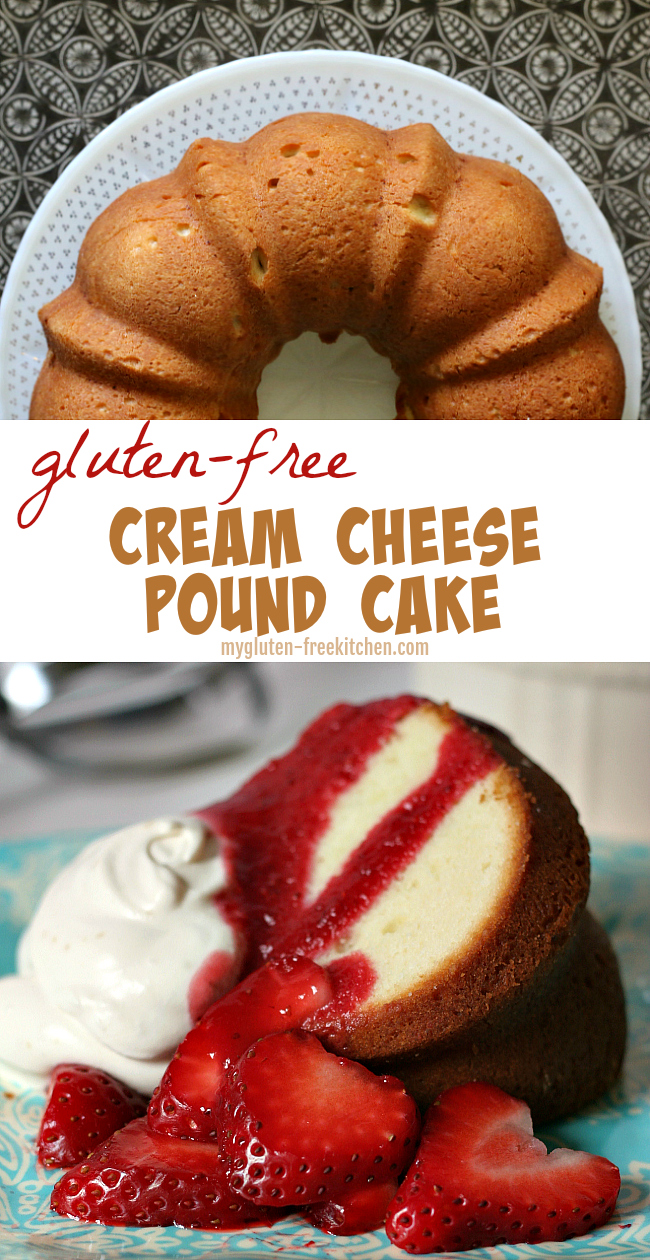 Gluten-free Cream Cheese Pound Cake Recipe in bundt pan. We love this #glutenfree pound cake served with fresh berries and whipped cream!