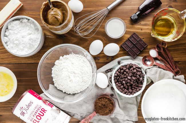 Ingredients for gluten-free buckeye brownies