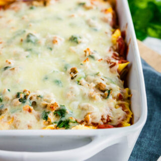 Pan of Cheesy Gluten-free Baked Ziti