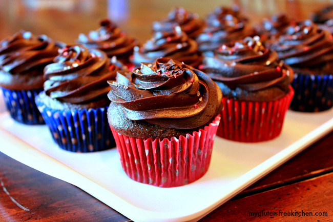 chocolate cupcakes and chocolate frosting