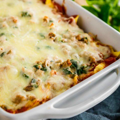pan of Gluten-free Cheesy Baked Ziti