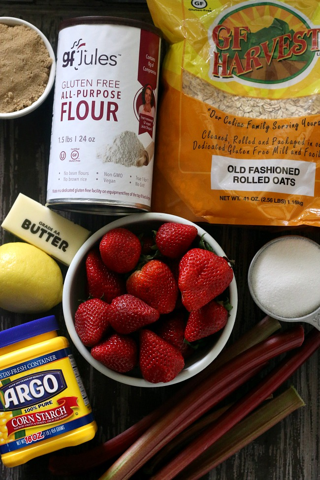 Ingredients for Gluten-free Strawberry Rhubarb Crisp