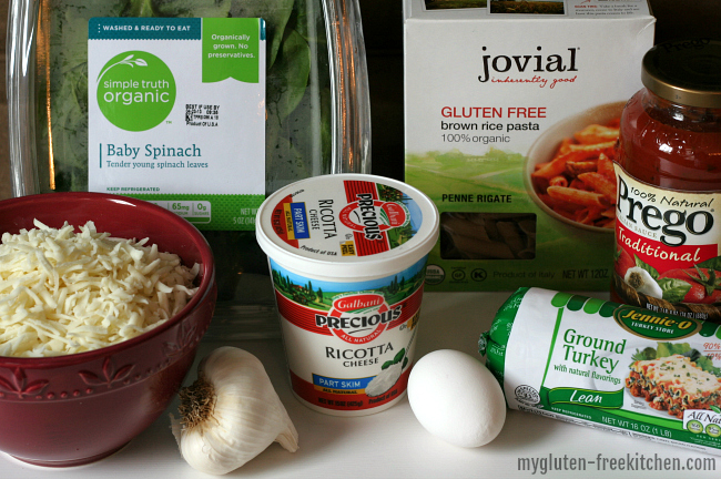 Ingredients for gluten-free baked ziti