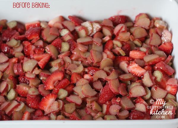Strawberry Rhubarb Crisp before baking {gluten-free}