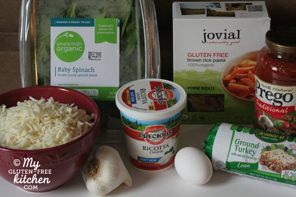 Healthier Baked Ziti Ingredients {gluten-free}