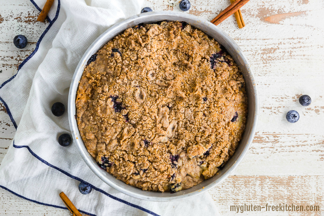 Finished gluten-free Blueberry Coffee Cake