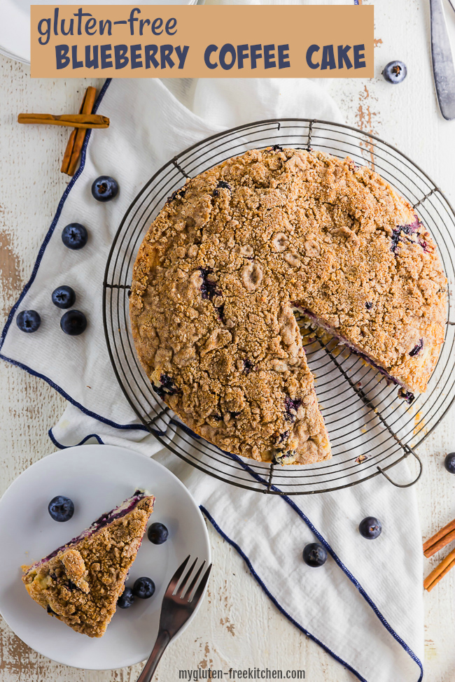 Gluten-free Blueberry Coffee Cake with a slice set on a plate