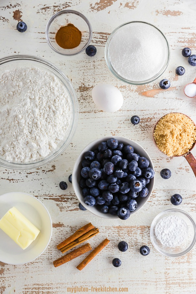 Ingredients for gluten-free Blueberry Coffee Cake