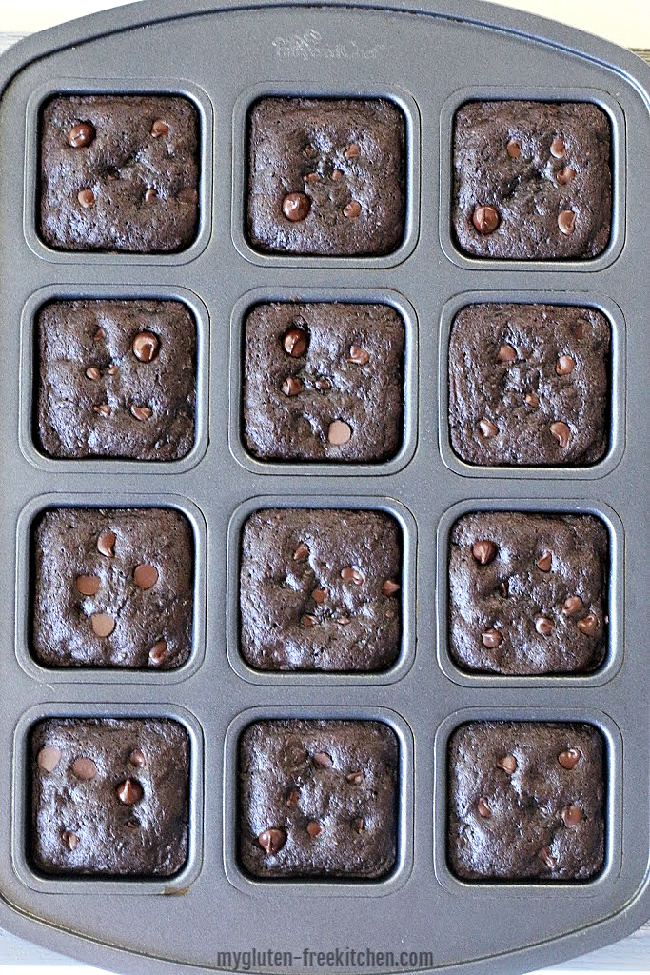 Baked gluten-free zucchini brownies in pan