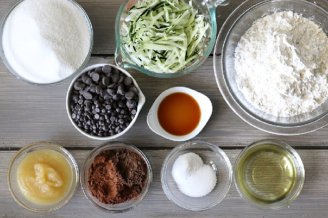 picture of Ingredients for Zucchini brownies