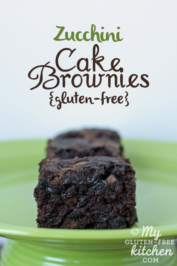 Photo with text of Zucchini Cake Brownies {Gluten-free, Dairy-Free, Egg-free}