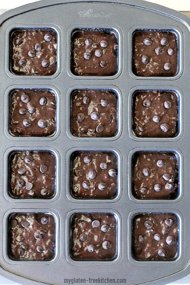 unbaked gluten-free zucchini brownies - batter in pan