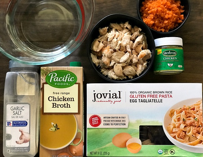 Ingredients for gluten-free chicken noodle soup