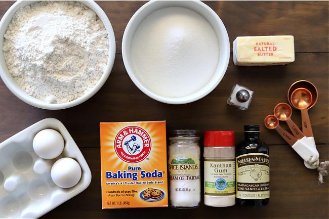 Ingredients for gluten-free snickerdoodles