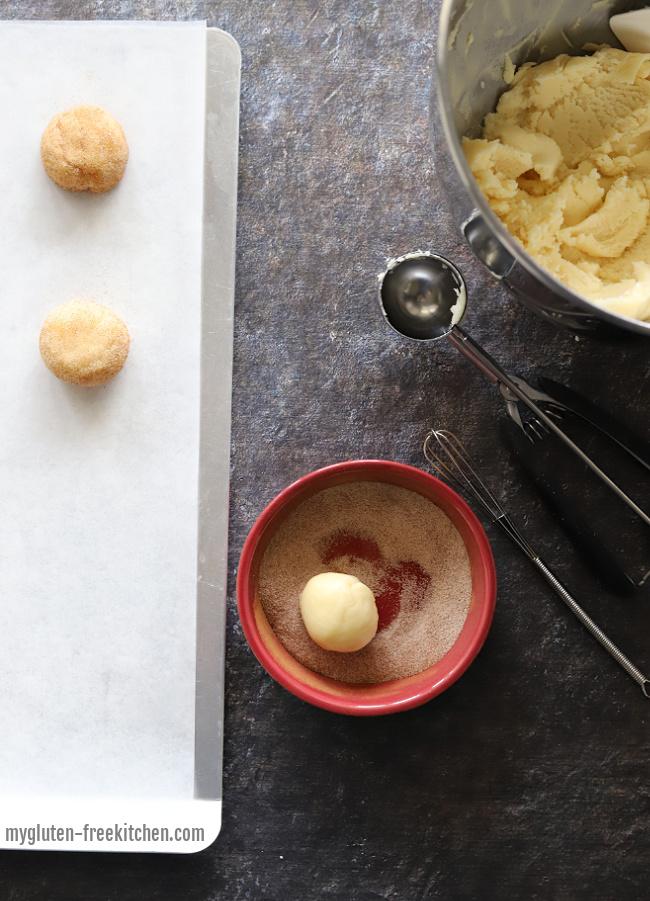 making gluten-free snickerdoodle cookies with cookie scoop