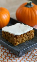 Gluten-free Pumpkin Bar Recipe. These spiced, cake-like bars are a perfect fall treat.