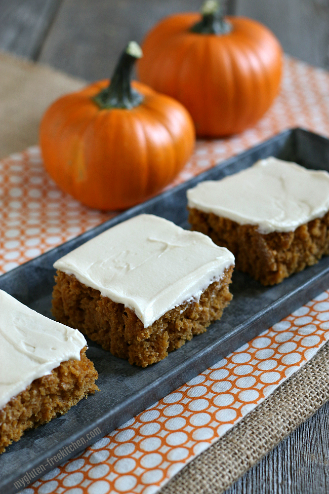 Gluten-free Pumpkin Bars with Cream Cheese Frosting. These cake-like bars are a favorite fall treat. No fork needed!