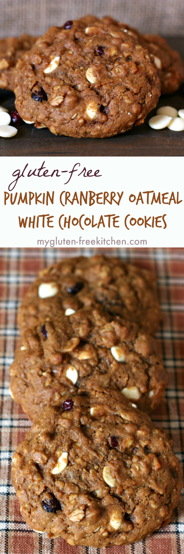 Gluten-free Pumpkin Cranberry Oatmeal White Chocolate Chip Cookies stack
