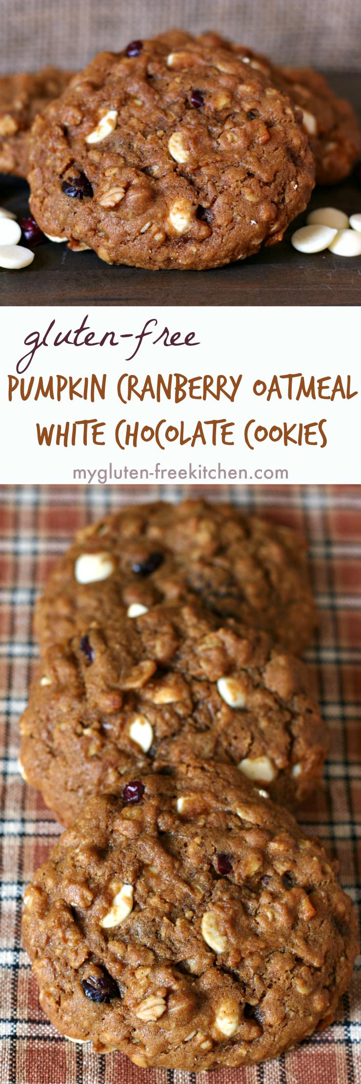 Gluten-free Pumpkin Cranberry Oatmeal White Chocolate Chip Cookies Recipe