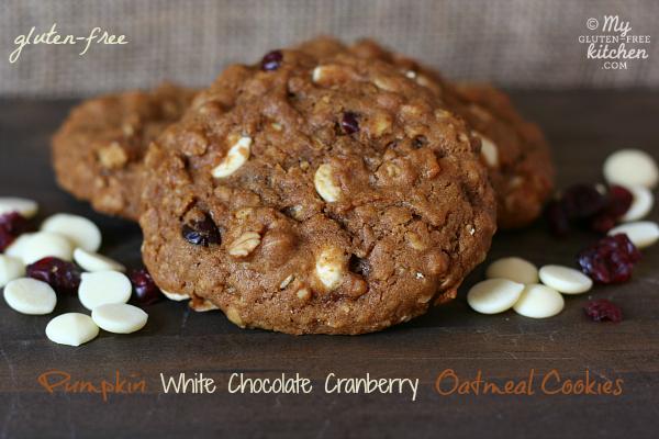 Gluten-free Pumpkin White Chocolate Cranberry Oatmeal Cookies