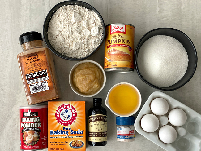 Ingredients for gluten-free pumpkin bars