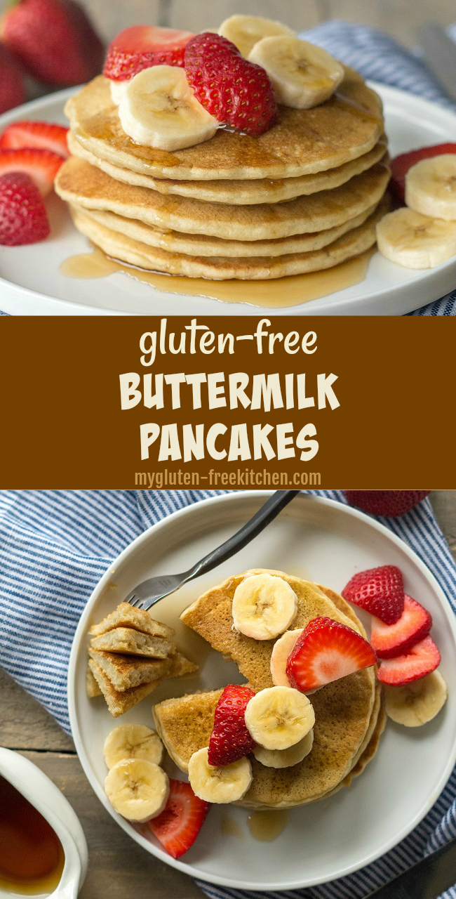 Gluten-free Buttermilk Pancakes Recipe. My go-to recipe for gluten free pancakes!