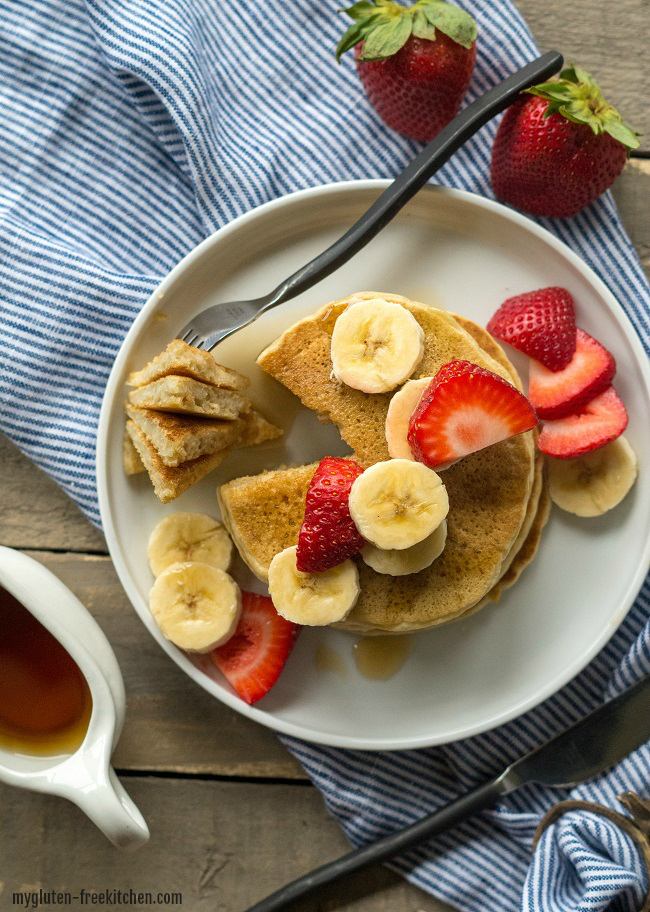 Gluten-free Buttermilk Pancakes with syrup. Delicious gluten-free pancakes that my family loves!