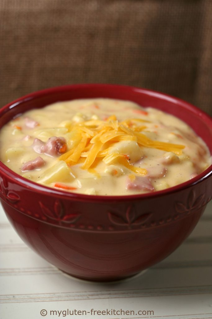 Gluten-free Ham Cheddar Chowder. This soup recipe is our family favorite!