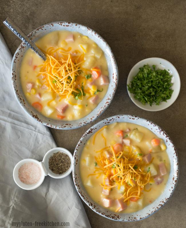 Two bowls of ham chowder