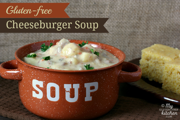 Bowl of Gluten-free Cheeseburger Soup with cornbread