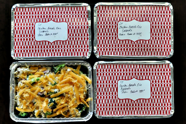 Gluten-free Chicken Rice Casserole in containers for freezing