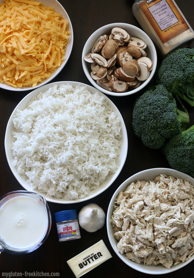 Ingredients for gluten-free chicken broccoli casserole