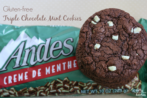 Gluten-free Triple Chocolate Mint Cookies with Andes baking chips