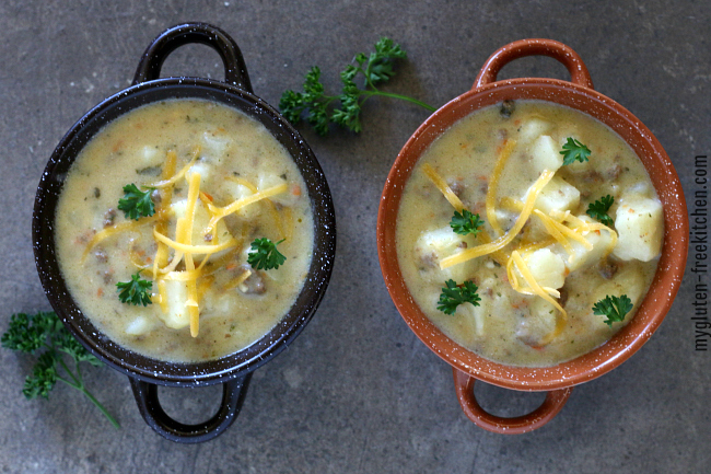 Two bowls of gluten free cheeseburger soup