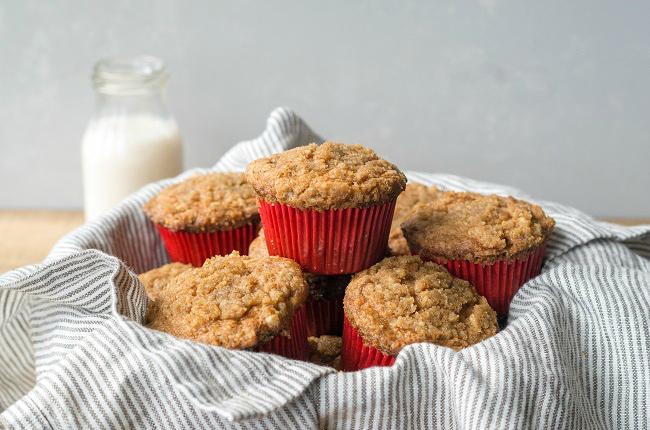 Gluten-free Apple Streusel Muffins in basket