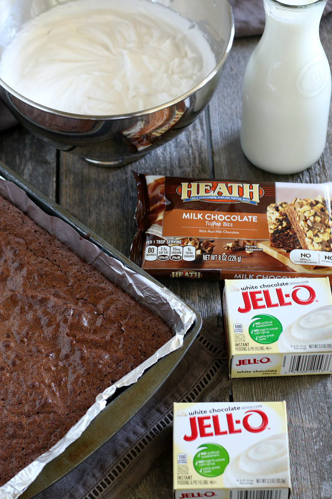 Ingredients for gluten-free brownie heath trifle