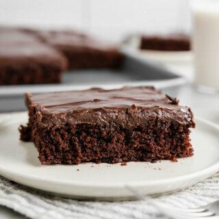 Slice of gluten-free chocolate cake on plate